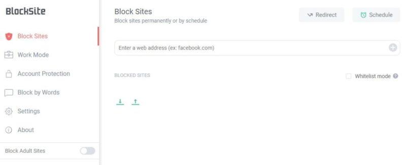 Block Siteの詳細画面